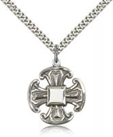 "Sterling Silver Cross Pendant, Stainless Silver Heavy Curb Chain, 1"" x 7/8"""