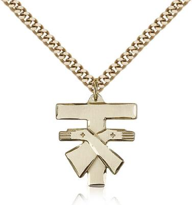 "Gold Filled Franciscan Cross Pendant, Stainless Gold Heavy Curb Chain, 3/4"" x 3/4"""