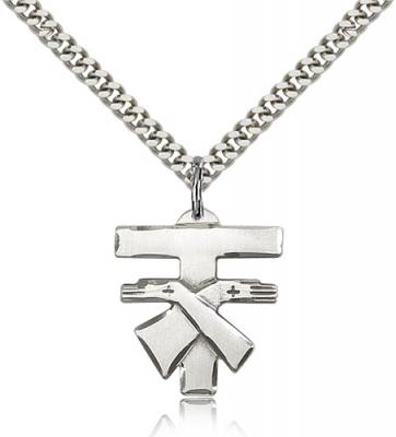 "Sterling Silver Franciscan Cross Pendant, Stainless Silver Heavy Curb Chain, 3/4"" x 3/4"""