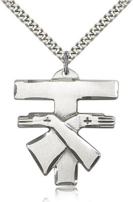 "Sterling Silver Franciscan Cross Pendant, Stainless Silver Heavy Curb Chain, 1 3/8"" x 1 1/4"""
