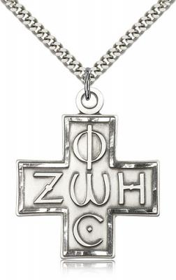 "Sterling Silver Light & Life Cross Pendant, Stainless Silver Heavy Curb Chain, 1 3/8"" x 1 1/4"""