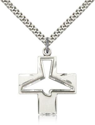 "Sterling Silver Holy Spirit Pendant, Stainless Silver Heavy Curb Chain, 1 1/8"" x 1"""