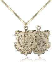 "Gold Filled Our Lady of Czestochowa Pendant, Gold Filled Lite Curb Chain, 1"" x 3/4"""