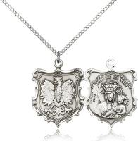 "Sterling Silver Our Lady of Czestochowa Pendant, Sterling Silver Lite Curb Chain, 1"" x 3/4"""