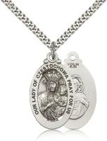 "Sterling Silver Our Lady of Czestochowa Pendant, Stainless Silver Heavy Curb Chain, 1 1/8"" x 5/8"""
