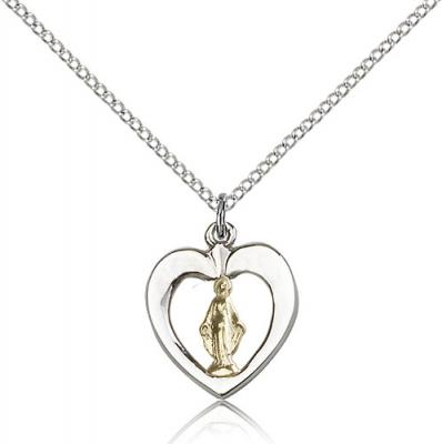 "Two-Tone GF/SS Miraculous Pendant, Sterling Silver Lite Curb Chain, 5/8"" x 1/2"""