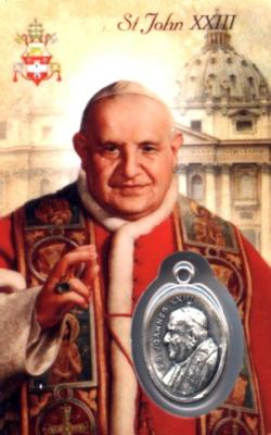 St. Pope John XXIII Holy Card with Medal