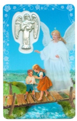 Guardian Angel Holy Card with Medal