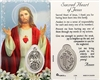 Sacred Heart of Jesus Holy Card with Medal C104