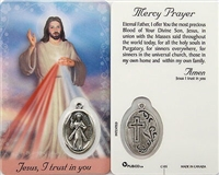 Mercy Prayer Divine Mercy Holy Card with Medal C105