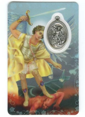 Saint Michael Holy Card with Medal C110