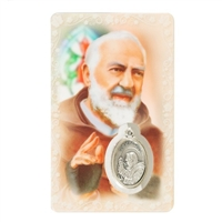 Saint Padre Pio Holy Card with Medal  C116