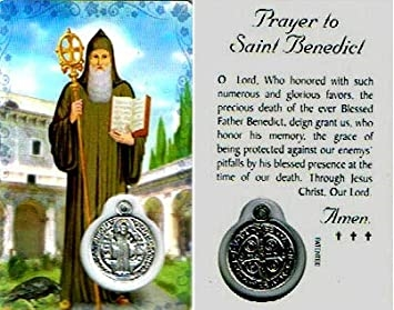 Saint Benedict Holy Card with Medal C117