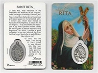Saint Rita Holy Card with Medal C118