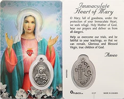 Immaculate Heart of Mary Holy Card with Medal C127