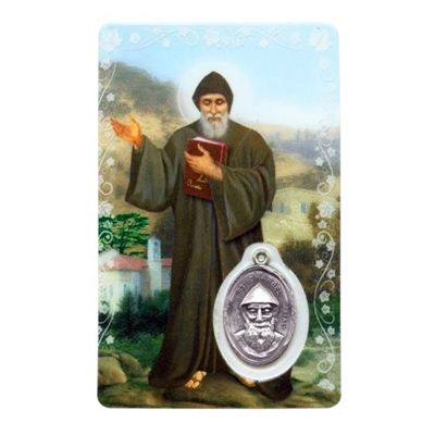 Saint Charbel's Intercession Holy Card with Medal C150