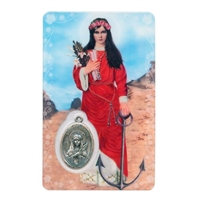 Novena to St. Philomena Holy Card with Medal C154