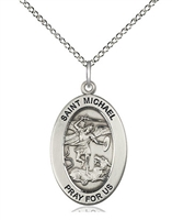 Sterling Silver St. Michael the Archangel Pendant 11076SS/24SS