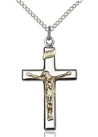 Two-Tone Gold Filled Sterling Silver Crucifix Pendant 0884611200