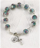 Light Blue Crystal Rosary Miraculous Medal Bracelet 108-16-5011