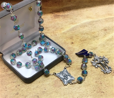 Light Blue Crystal Rose Rosary 108-16-5016