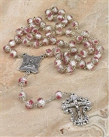 White Crystal Rose Rosary 108-16-5015