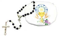 First Communion Rosary Pouch with Black Bead Rosary Set 108-20-7501