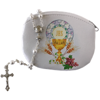 First Communion Rosary Pouch with White Bead Rosary Set 108-20-7500