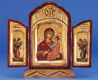 Virgin Mary the Healing Triptych Gold Leaf Icon 136-60-2904
