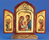 Holy Family Triptych Gold Leaf Icon 136-60-2905