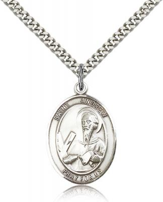 "Sterling Silver St. Andrew the Apostle Pendant, Stainless Silver Heavy Curb Chain, Large Size Catholic Medal, 1"" x 3/4"""