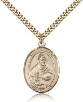 "Gold Filled St. Albert the Great Pendant, Stainless Gold Heavy Curb Chain, Large Size Catholic Medal, 1"" x 3/4"""