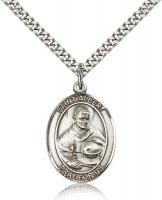 "Sterling Silver St. Albert the Great Pendant, Stainless Silver Heavy Curb Chain, Large Size Catholic Medal, 1"" x 3/4"""
