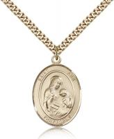 "Gold Filled St. Ann Pendant, Stainless Gold Heavy Curb Chain, Large Size Catholic Medal, 1"" x 3/4"""