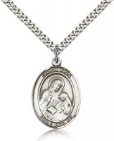 "Sterling Silver St. Ann Pendant, Stainless Silver Heavy Curb Chain, Large Size Catholic Medal, 1"" x 3/4"""