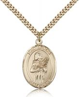 "Gold Filled St. Agatha Pendant, Stainless Gold Heavy Curb Chain, Large Size Catholic Medal, 1"" x 3/4"""