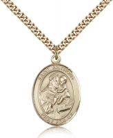 "Gold Filled St. Anthony of Padua Pendant, Stainless Gold Heavy Curb Chain, Large Size Catholic Medal, 1"" x 3/4"""