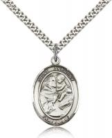 "Sterling Silver St. Anthony of Padua Pendant, Stainless Silver Heavy Curb Chain, Large Size Catholic Medal, 1"" x 3/4"""