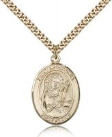 "Gold Filled St. Apollonia Pendant, Stainless Gold Heavy Curb Chain, Large Size Catholic Medal, 1"" x 3/4"""