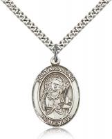 "Sterling Silver St. Apollonia Pendant, Stainless Silver Heavy Curb Chain, Large Size Catholic Medal, 1"" x 3/4"""