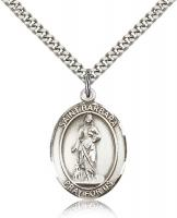 "Sterling Silver St. Barbara Pendant, Stainless Silver Heavy Curb Chain, Large Size Catholic Medal, 1"" x 3/4"""