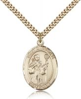 "Gold Filled St. Augustine Pendant, Stainless Gold Heavy Curb Chain, Large Size Catholic Medal, 1"" x 3/4"""