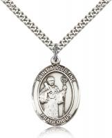 "Sterling Silver St. Augustine Pendant, Stainless Silver Heavy Curb Chain, Large Size Catholic Medal, 1"" x 3/4"""