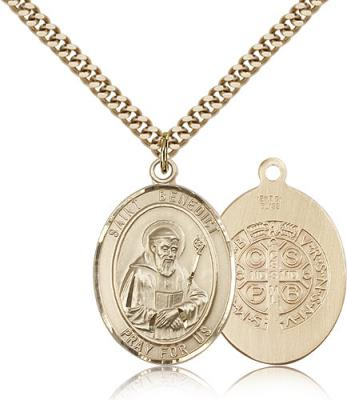 "Gold Filled St. Benedict Pendant, Stainless Gold Heavy Curb Chain, Large Size Catholic Medal, 1"" x 3/4"""
