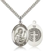 "Sterling Silver St. Benedict Pendant, Stainless Silver Heavy Curb Chain, Large Size Catholic Medal, 1"" x 3/4"""
