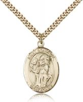 "Gold Filled St. Boniface Pendant, Stainless Gold Heavy Curb Chain, Large Size Catholic Medal, 1"" x 3/4"""