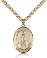 "Gold Filled St. Blaise Pendant, Stainless Gold Heavy Curb Chain, Large Size Catholic Medal, 1"" x 3/4"""