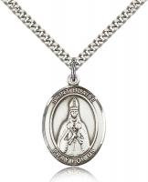 "Sterling Silver St. Blaise Pendant, Stainless Silver Heavy Curb Chain, Large Size Catholic Medal, 1"" x 3/4"""