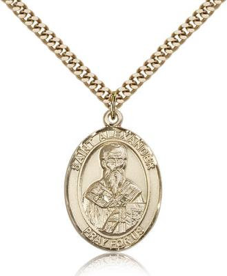 "Gold Filled St. Alexander Sauli Pendant, Stainless Gold Heavy Curb Chain, Large Size Catholic Medal, 1"" x 3/4"""