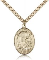 "Gold Filled St. Benjamin Pendant, Stainless Gold Heavy Curb Chain, Large Size Catholic Medal, 1"" x 3/4"""